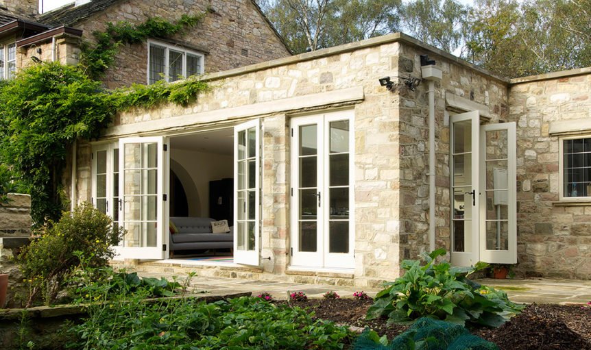 Cream wooden patio doors open