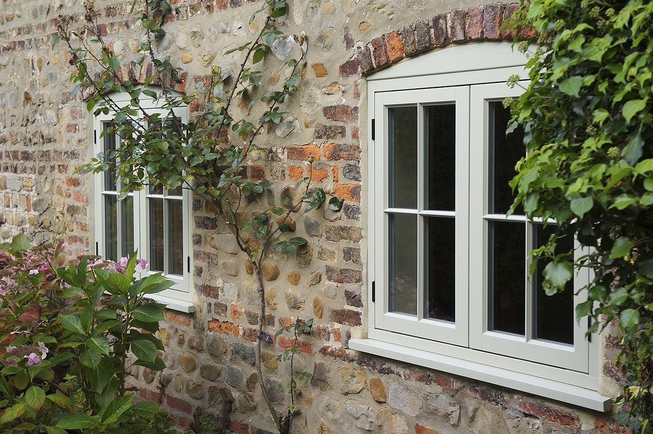 cream wooden casement windows