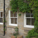 cream wooden sash windows