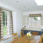 white wooden kitchen sash windows