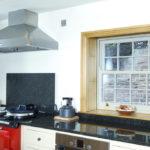 kitchen with wooden windows
