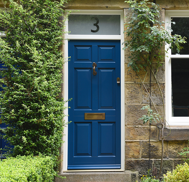 Traditional solid wood front door