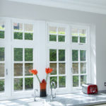 white wooden kitchen windows