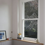 inside view of white wooden sash window