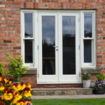 white wooden patio french doors