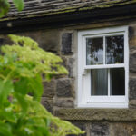 white wooden sash window