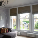 large wooden white sash windows